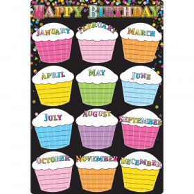 "Smart Poly Chart Black Confetti Birthdays, 13"" x 19"""