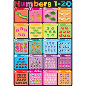 "Smart Poly Chart Numbers 1-20, 13"" x 19"""