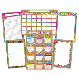 6 Pk Burlap Stitched Class Charts Smart Poly