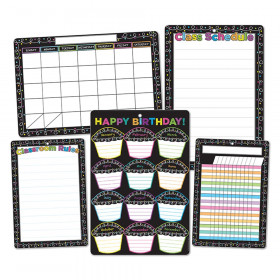"""Smart Poly Chalk Dots with Loops Classroom Charts, 13"""" x 19"""", Set of 5"""