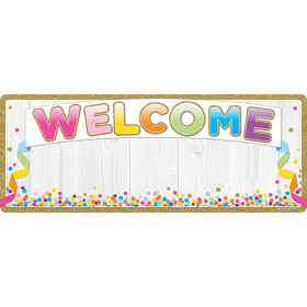 """Smart Poly Welcome Banner, 9"""" x 24"""", Confetti"""