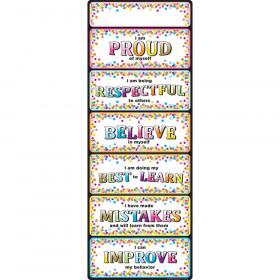 """Smart Poly Clip Chart w/Grommet, 9"""" x 24"""", Confetti Positive Behavior"""