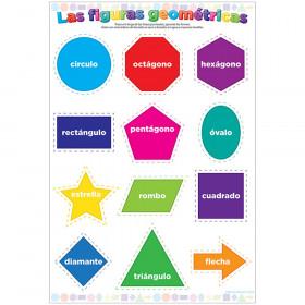 "Smart Poly Spanish Chart, 13"" x 19"", Confetti, Las figuras geométricas (Shapes)"