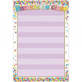"Smart Poly Spanish Chart, 13"" x 19"", Confetti, Horario de clase (Classroom Rules)"