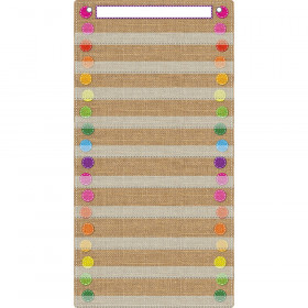 "Smart Poly Pocket Chart, 13"" x 25"", 10 Pockets & 2 Grommets, Burlap Stitched"