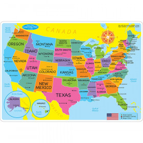 """Smart Poly Learning Mat, 12"""" x 17"""", Double-Sided, U.S. Basic Map"""