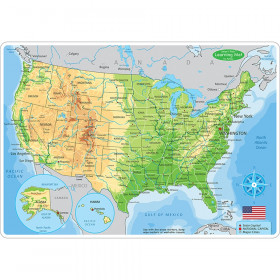 """Smart Poly Learning Mat, 12"""" x 17"""", Double-Sided, U.S. Physical Map"""