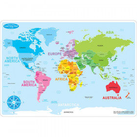 """Smart Poly Learning Mat, 12"""" x 17"""", Double-Sided, World Basic Map"""