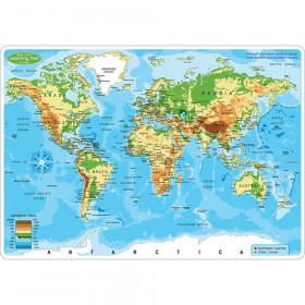 """Smart Poly Learning Mat, 12"""" x 17"""", Double-Sided, World Physical Map"""