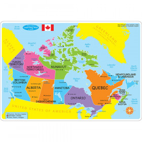 """Smart Poly Learning Mat, 12"""" x 17"""", Double-Sided, Canada Basic Map"""