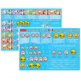 """Smart Poly Learning Mat, 12"""" x 17"""", Double-Sided, Canadian Currency"""