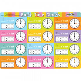 """Smart Poly Single Sided PosterMat Pals, Telling Time Basic, 12"""" x 17.25"""""""