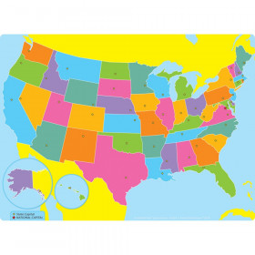 """Smart Poly Single Sided PosterMat Pals Space Savers, US Map, 13"""" x 9.5"""""""