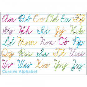 """Smart Poly Single Sided PosterMat Pals Space Savers, Cursive Handwriting, 13"""" x 9.5"""""""