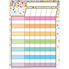 "Smart Poly Single Sided PosterMat Pals Space Savers, Incentive Chart Confetti Style, 13"" x 9.5"""