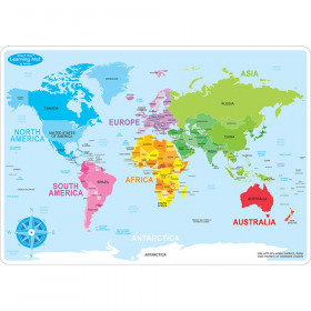 10Pk World Map Learn Mat 2 Sided Write On Wipe Off