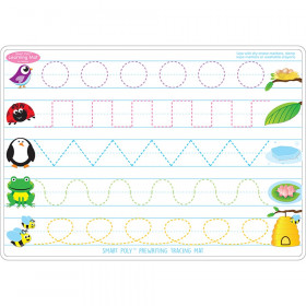 """Smart Poly Learning Mats, 12"""" x 17"""", Double-Sided, Prewriting & Shape Tracing, Pack of 10"""