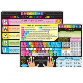 """Smart Poly Learning Mats, 12"""" x 17"""", Double-Sided, Keyboard Basics & Internet Safety, Pack of 10"""