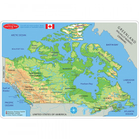 """Smart Poly Learning Mats, 12"""" x 17"""", Double-Sided, Canada Map Physical, Pack of 10"""