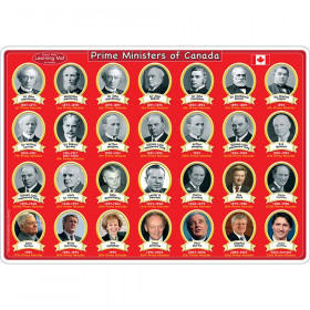 "Smart Poly Learning Mats, 12"" x 17"", Double-Sided, Canadian Prime Ministers & Government, Pack of 10"