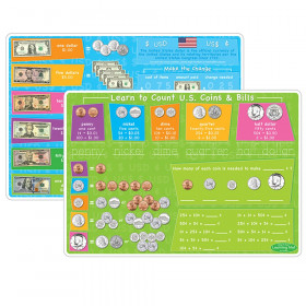 "Smart Poly Learning Mats, 12"" x 17"", Double-Sided, U.S. Currency, Pack of 10"