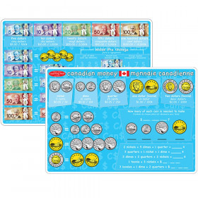 "Smart Poly Learning Mats, 12"" x 17"", Double-Sided, Canadian Currency, Pack of 10"