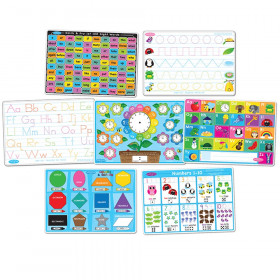 """Smart Poly Learning Mats, 12"""" x 17"""", Double-Sided, Early Education, Set of 7"""