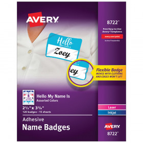 Flexible Adhesive Name Badge Labels Hello My Name Is Assorted Colors
