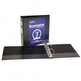"Economy View Binder, 3"" Round Rings, 460-Sheet Capacity, Black"