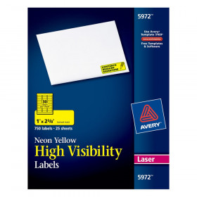 "High-Visibility Labels, Permanent Adhesive, Neon Yellow, 1"" x 2-5/8"", 750 Labels"