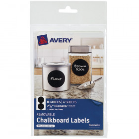 Avery Round 8Pk Removable Chalkboard Labels 2 3/4In