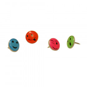 Fancy Push Pins, Smiley Face, Pack of 16