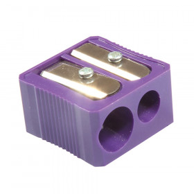 Dual Hole Plastic Pencil Sharpener, Assorted Colors