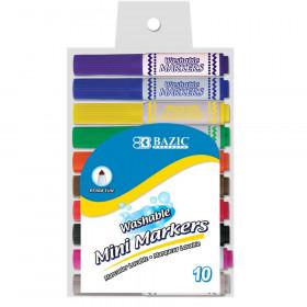 Washable Markers, Mini Broad Line, 10 Colors