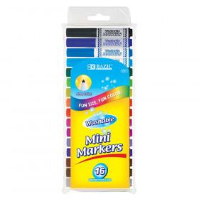 BAZIC Washable Markers, Mini Broad Line, 16 colors