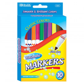BAZIC Washable Markers, Super Tip, 10 colors