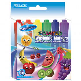 BAZIC Washable Markers, Scented, 6 colors