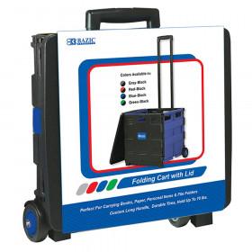 "BAZIC Folding Cart on Wheels w/Lid Cover, 16"" x 18"" x 15"", Black/Blue"