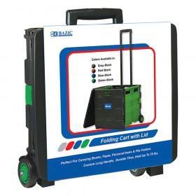"BAZIC Folding Cart on Wheels w/Lid Cover, 16"" x 18"" x 15"", Black/Green"