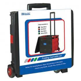 "BAZIC Folding Cart on Wheels w/Lid Cover, 16"" x 18"" x 15"", Black/Red"