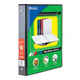 """BAZIC 3-Ring View Binder with 2 Pockets, 1.5"""", Black"""