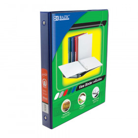 """BAZIC 3-Ring View Binder with 2 Pockets, 1"""", Blue"""