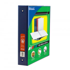 """BAZIC 3-Ring View Binder with 2 Pockets, 1.5"""", Blue"""