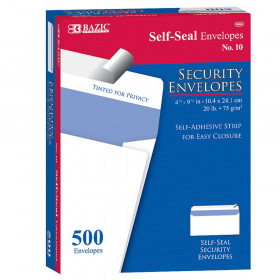 BAZIC #10 Self-Seal Security Envelopes, Pack of 500