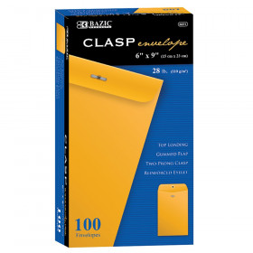 "BAZIC Clasp Envelopes, 6"" x 9"", Pack of 100"