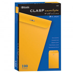 "BAZIC Clasp Envelopes, 9"" x 12"", Pack of 100"