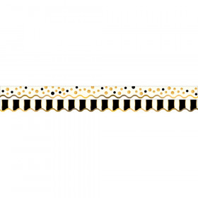 Double-Sided Border, Scalloped Edge, Gold Bars, 39'