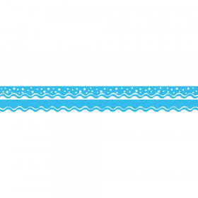 Happy Pool Blue Border Double-Sided Scalloped Edge