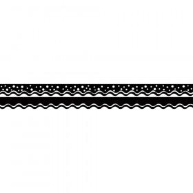 Happy Black Border Double-Sided Scalloped Edge