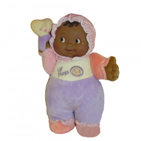 """Lil' Hugs Baby's First Soft Doll, Vinyl Face, Pastel Outfits with Rattle, 12"""" African-American"""